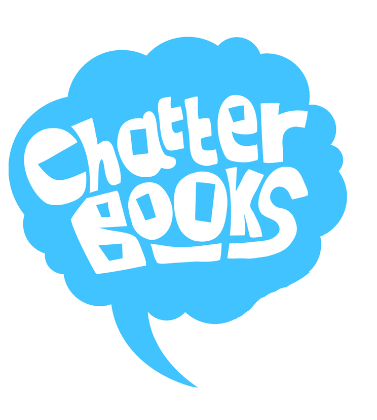 Chatterbooks small white on blue