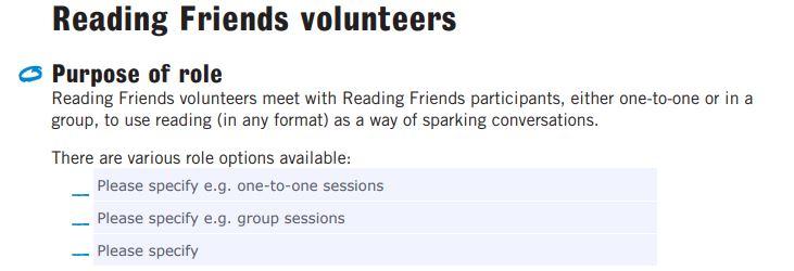 Reading Friends volunteer role description