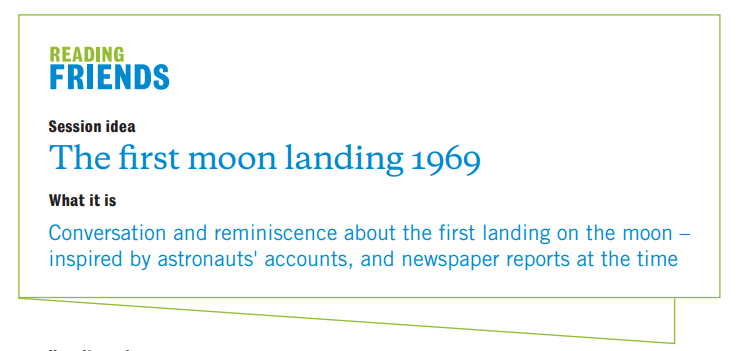 Reading Friends The First Moon Landing 1969: session idea