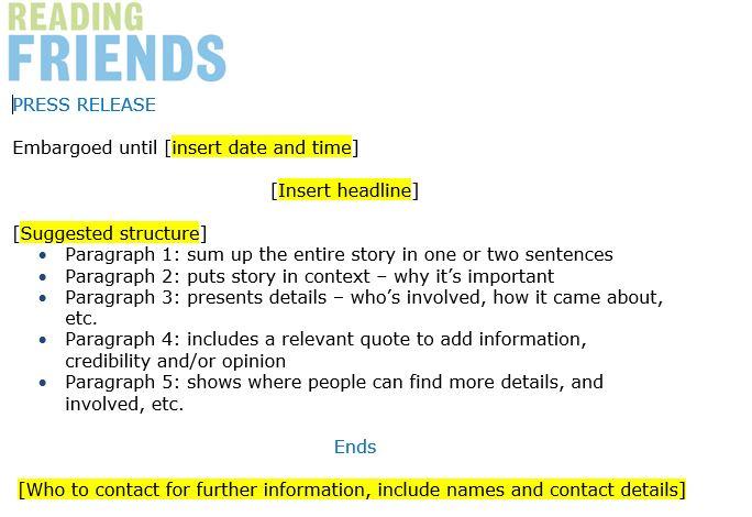 Reading Friends press release