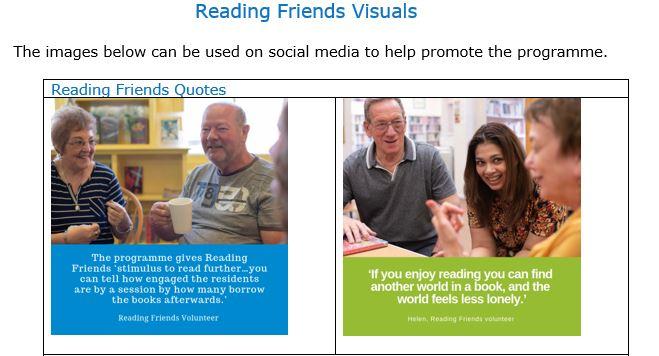 Reading Friends social media visuals