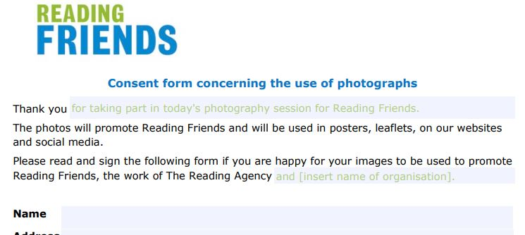 Reading Friends photo consent form