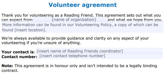 Reading Friends volunteer agreement template