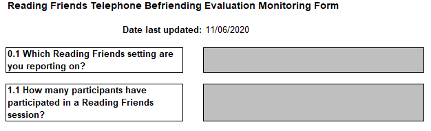 Reading Friends Telephone Evaluation Monitoring form