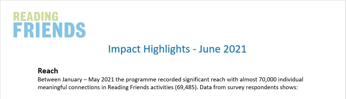 Reading Friends Impact Statistics